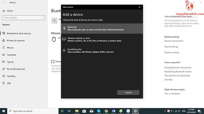 Hướng dẫn kết nối bluetooth chuột nghe thông minh với laptop