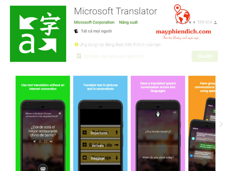 App dịch tiếng Trung Microsoft Translator