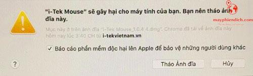 Lời cảnh báo khi cài đặt phần mềm trên Macbook