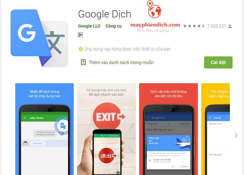 Phần mềm dịch tiếng trung sang tiếng việt cho máy tính Google dịch