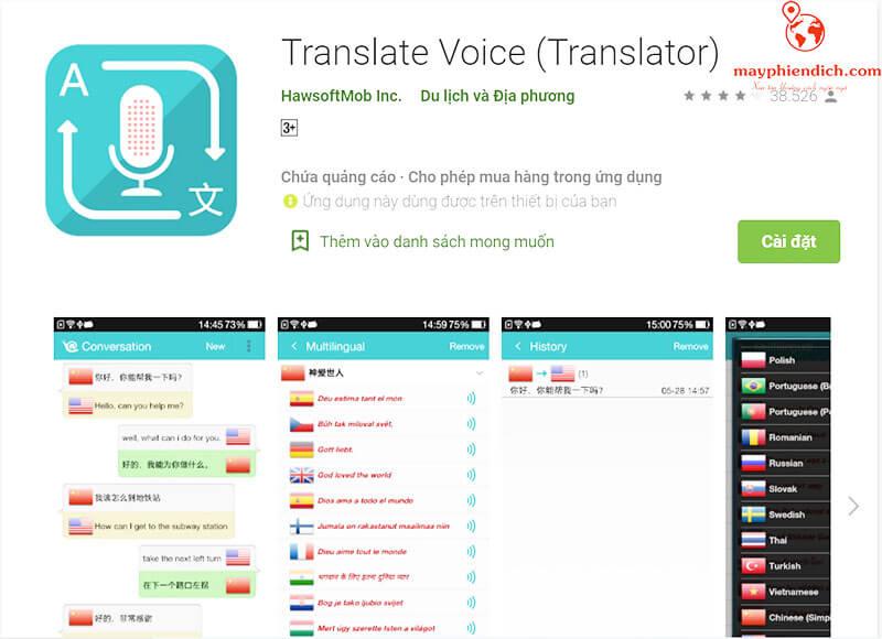 Phần mềm dịch tiếng trung bằng giọng nói Translate Voice