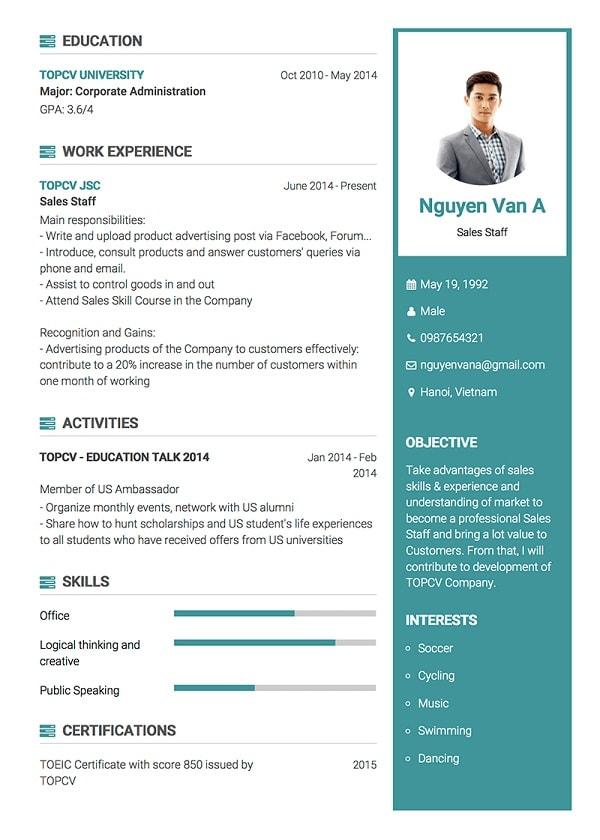 Cách viết mẫu CV tiếng Anh chuẩn nhất 2018