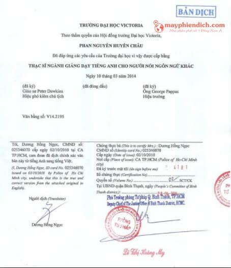 mẫu tài liệu đã dịch thuật và đóng dấu công chứng tư pháp