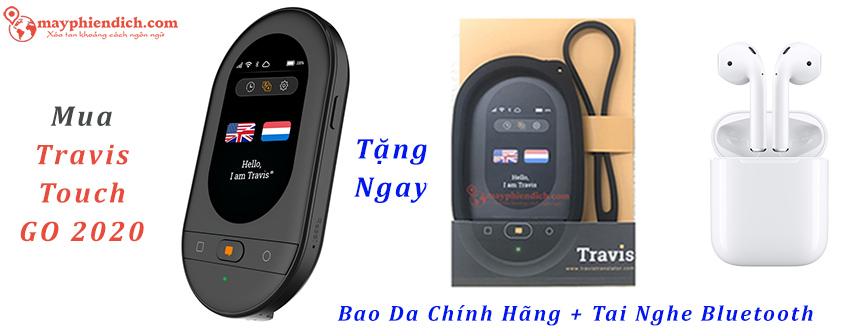 Tặng Bao da và tai nghe bluetooth sony khi mua travis Touch