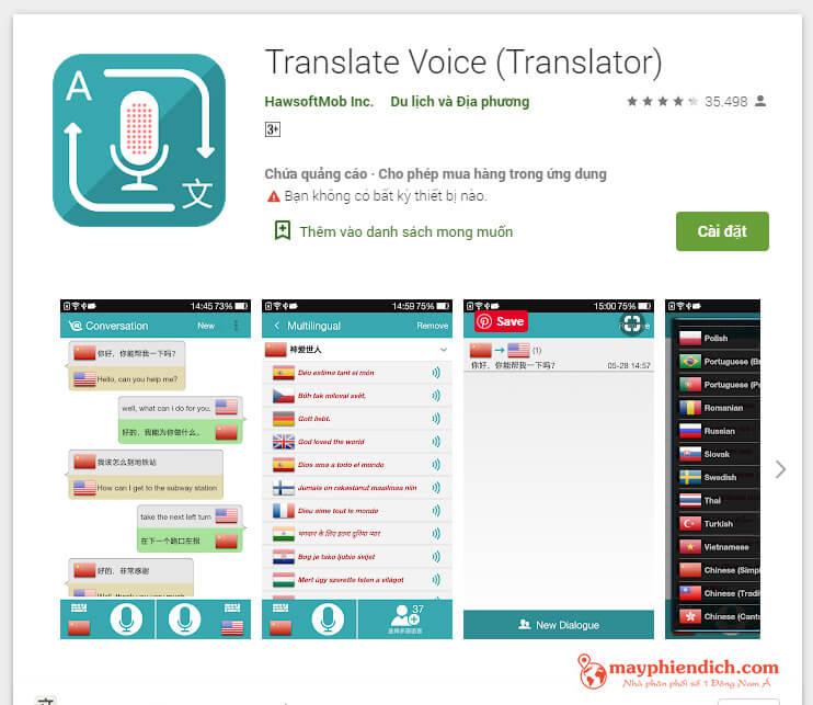 Translator Voice - phần mềm dịch tiếng Anh sang tiếng Việt chuẩn