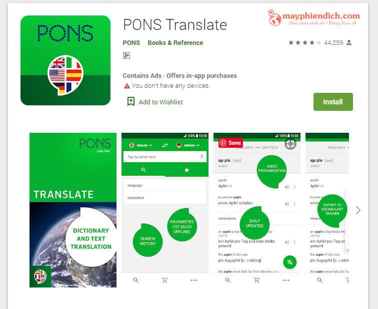 App Pons translator phần mềm dịch tiếng Anh trên điện thoại