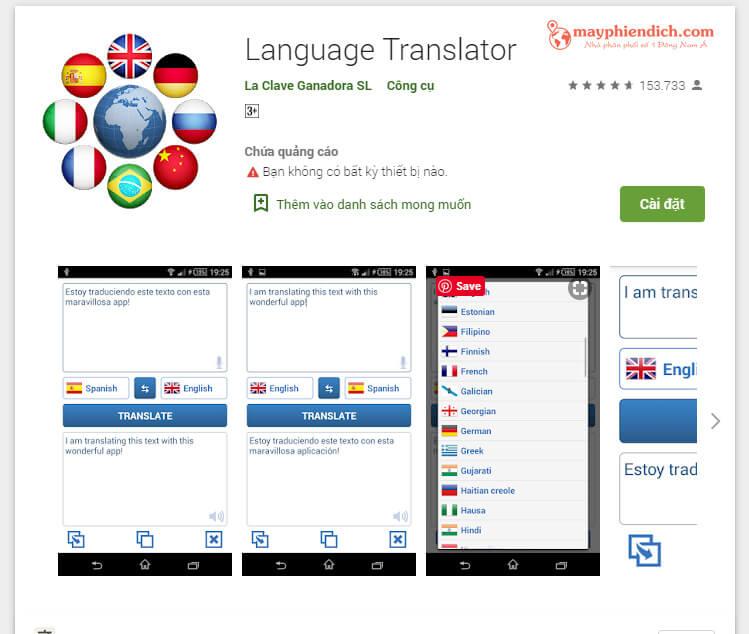 Phiên dịch từ tiếng Việt sang tiếng Anh bằng app Language Translator
