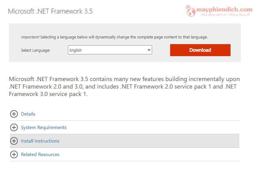 Download Framework 3.5 của Microsoft