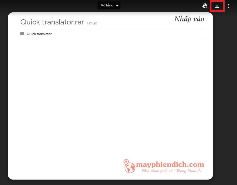 Bấm vào biểu tượng để download Quick Translator