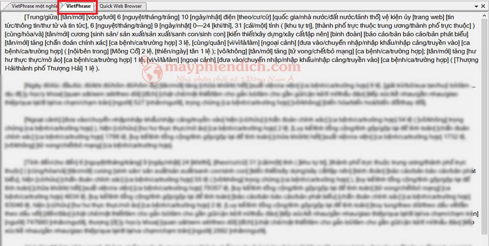 Chuyển tab Vietphrase để hiển thị bản dịch đa nghĩa